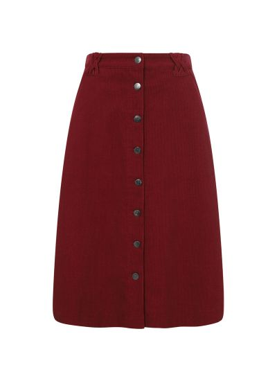 Keaton A-Line Cord Midi Skirt Cabernet Product Front