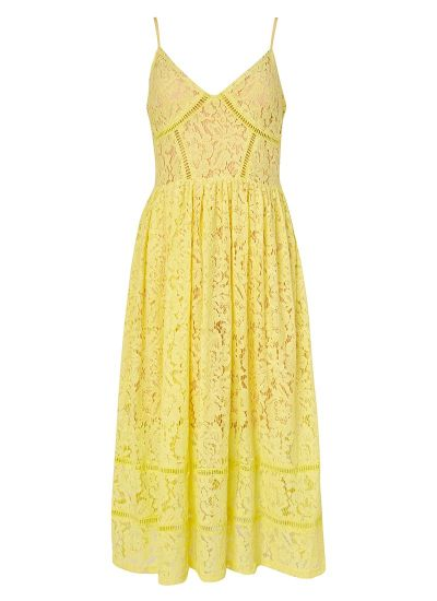 Kezzy Yellow Strappy Lace Midi Dress