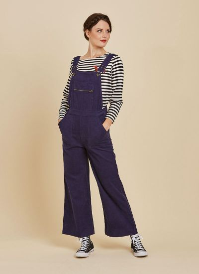 Leroy Cord Dungarees Blue Full Front View