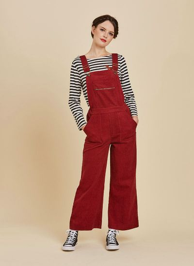 Leroy Cord Dungarees Red Full Front View