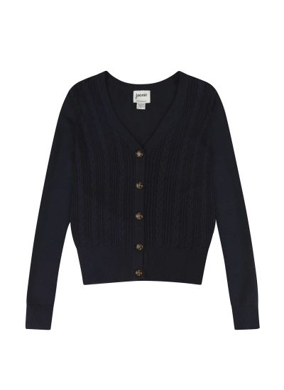 Linda Navy Cable Knit Cardigan Product Front