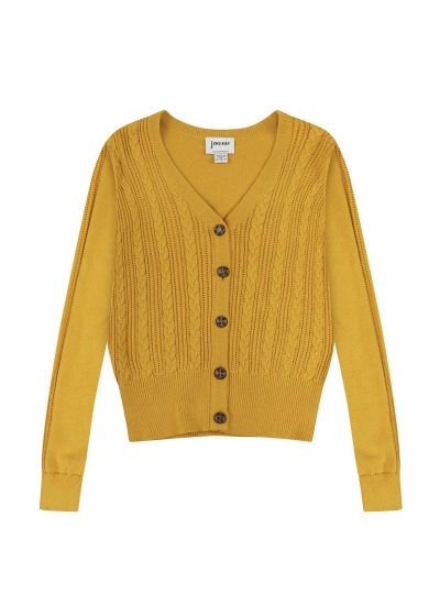 Linda Mustard Cable Knit Cardigan Product Front