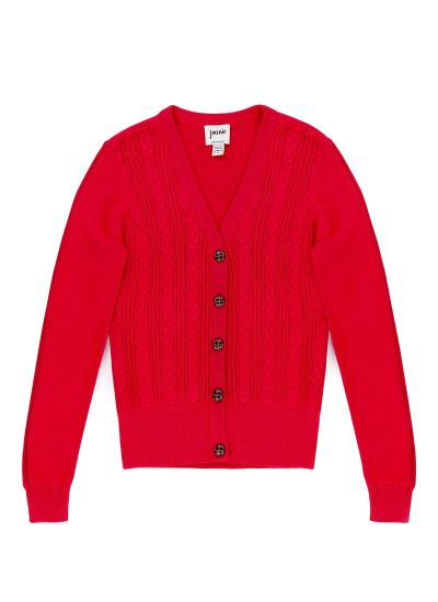 Linda Cable Knit Cardigan - Red
