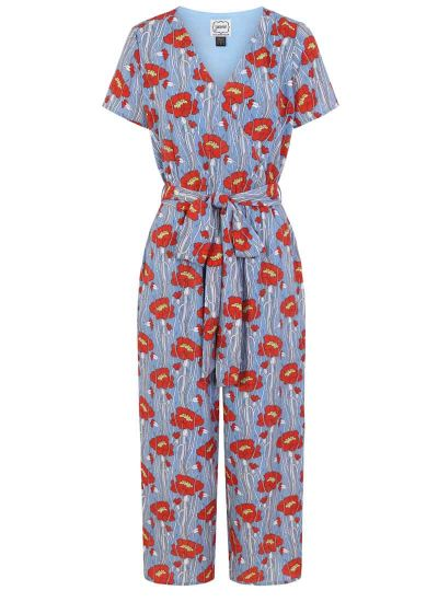 Lisa Poppy Print Wrap Front Jumpsuit Blue product front