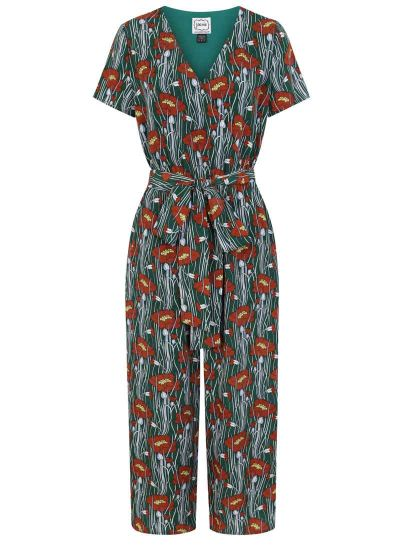 Lisa Poppy Print Wrap Front Jumpsuit green product front