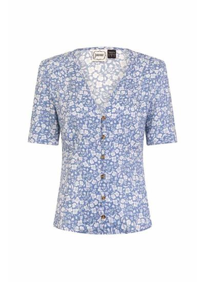 Lottie Blue Floral Button-Through Tea Blouse Product Front