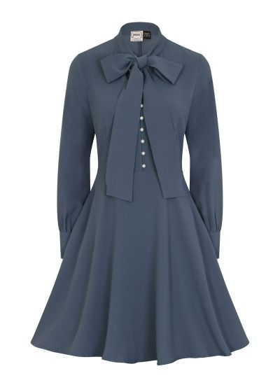 Macgraw Pussy Bow Pearl Button Dress Blue Product Front