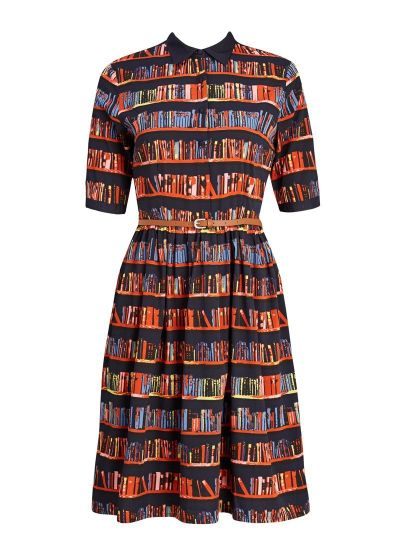 Martha Library Book Print Shirt Dress product front