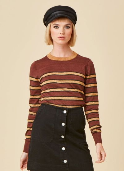 Maya Metallic Gold Stripe Jumper
