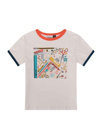Michael Stationery Print Ringer Tee Product Front