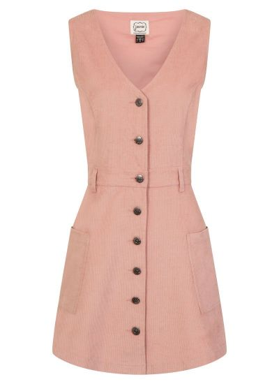 Molly Pink Cord Pinafore Dress Product Front