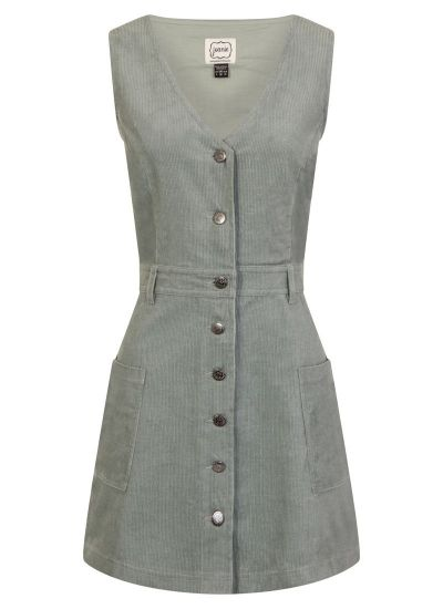 Molly Blue Cord Pinafore Dress Model Front