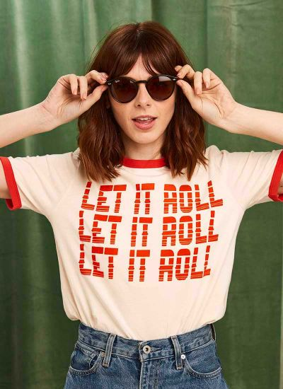 Joanie X Sophia Rosemary Harrison Let It Roll Tee Model Second