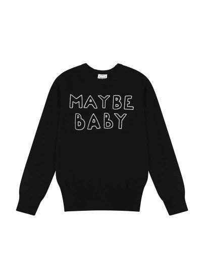 Nikita Maybe Baby Slogan Black Knit Jumper Product Front