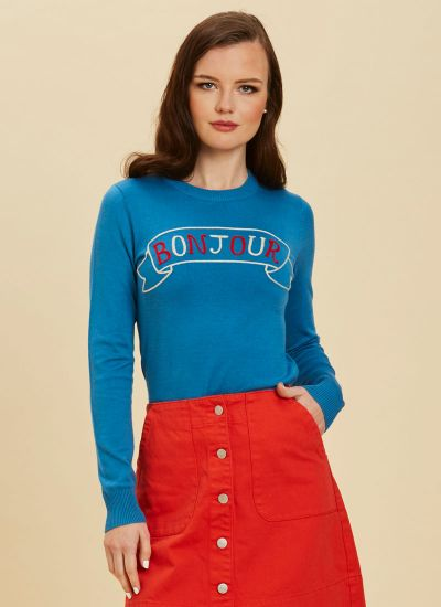 Pascal Bonjour Slogan Blue Knit Jumper Close-Up