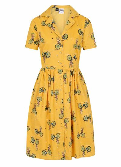 Pepper Yellow Bicycle Print Shirt Dress Product Front