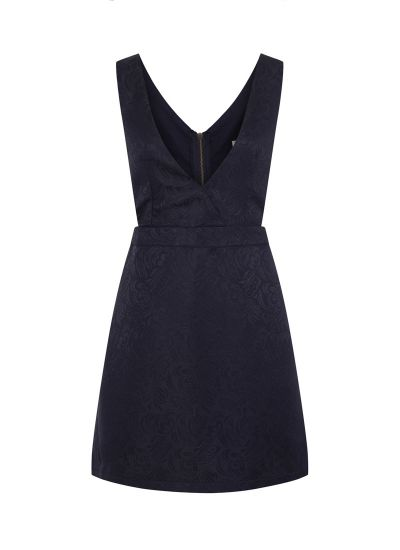 Prudence Jacquard Pinafore Dress Navy 60s-Inspired Product Front