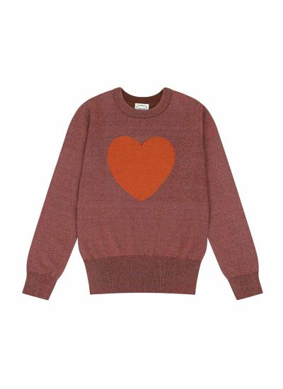 Rivington Heart Intarsia Lurex Jumper Product Front