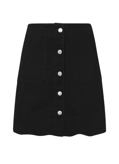 Sarah Scallop A-Line Denim Skirt Black Product Front