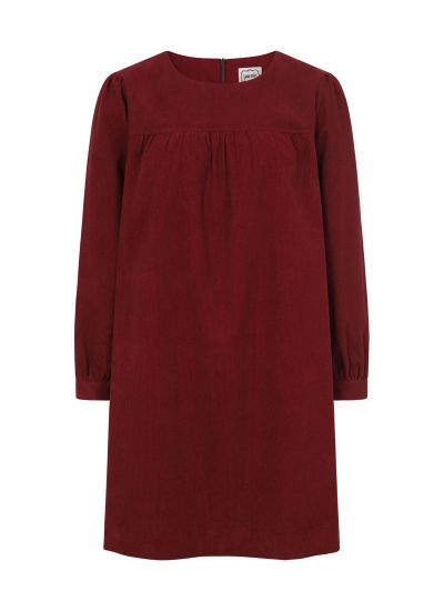 Sasha Cord Smock Dress Cabernet Product Front