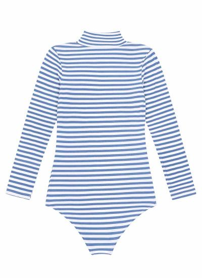 Selina Roll Neck Body Suit Blue Stripe Product Back