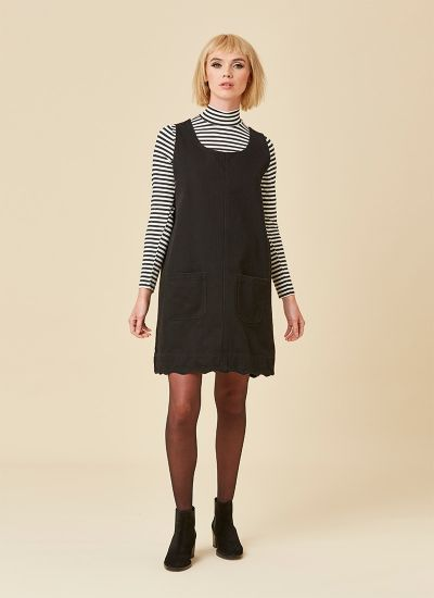 Jennifer Scallop Edge Pinafore Dress Black Full Front