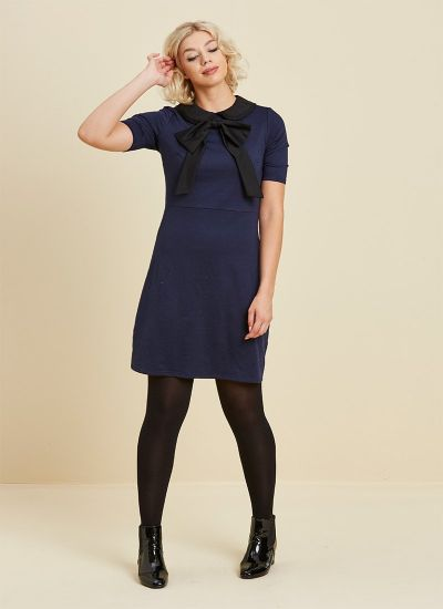 Fritha Navy & Black Collar Dress Model Second