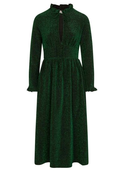 Sparky Tie Neck Sparkly Midi Dress Green Product Front