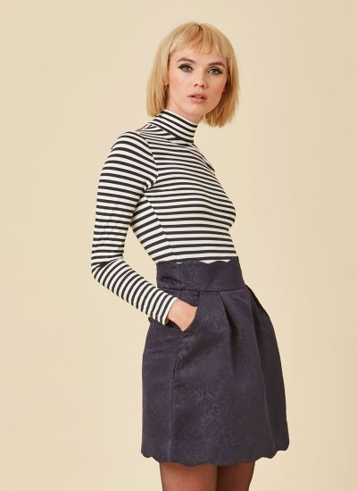 Suzy Navy Scallop Skirt Pockets Model Close-Up