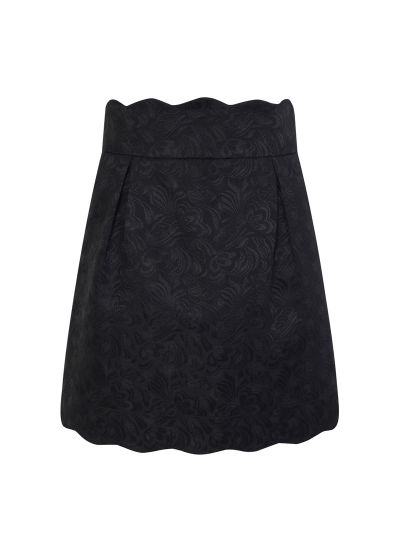 Suzy Black Scallop Mini Skirt Product Front