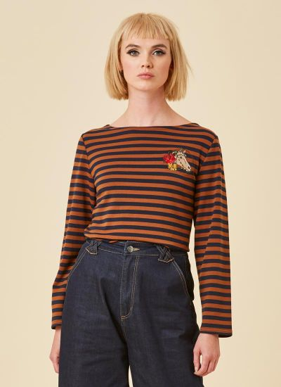 Taddy Horse Breton Stripe Top Model Close-Up