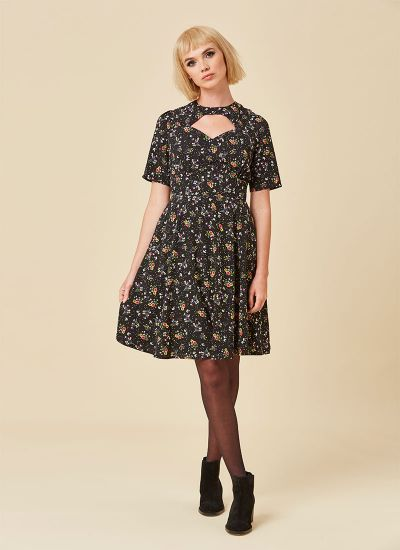 Willa Floral Cut-Out Detail Dress Brown Lace-Up Boots Full Front