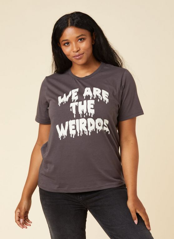 Neve We Are The Weirdos Slogan Tee Model Front