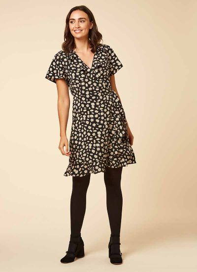 Joyce Daisy Print Frill Wrap Dress