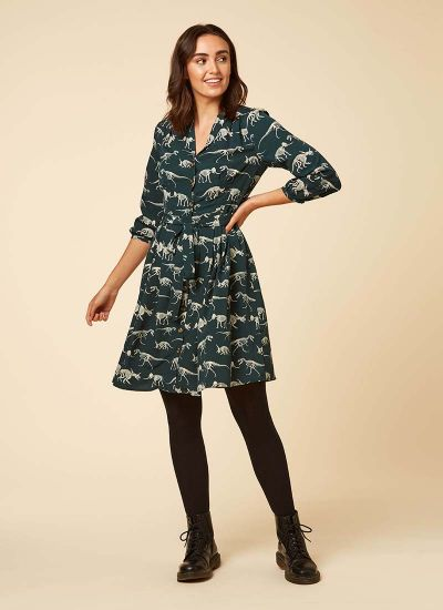 Barbara Dinosaur Print Button-Through Shirt Dress Model Front