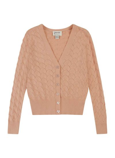 Alana Pink Pointelle Knit Cardigan Product Front