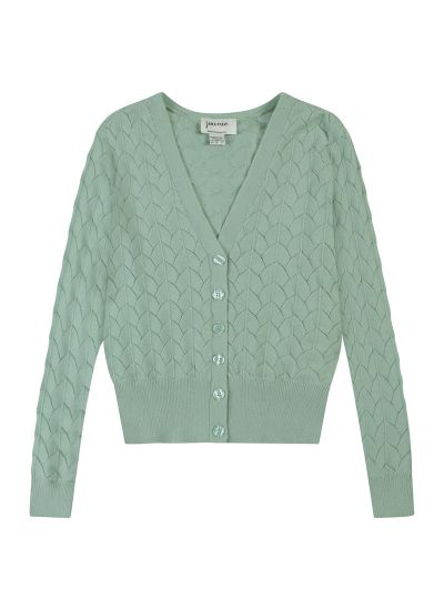 Alana Pointelle Knit Cardigan Product Front