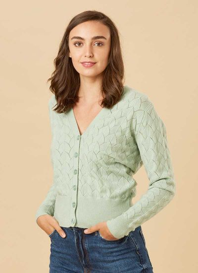 Alana Pointelle Knit Cardigan - Green