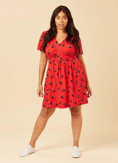 Alexis Swallow Print Red Jersey Dress Model Front
