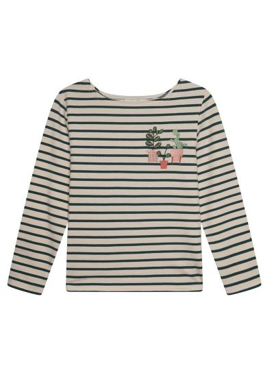 Alys Green Pot Plant Breton Stripe Top