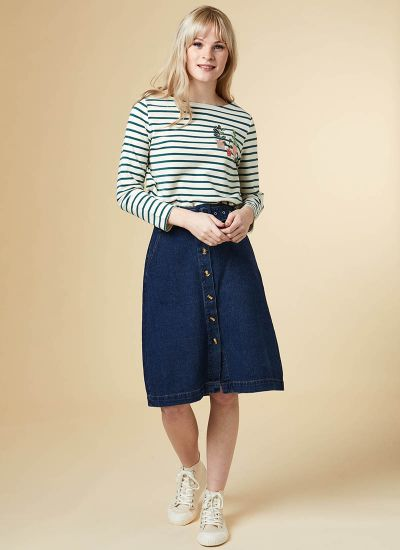 Gladys Belted Button Denim Skirt Model Front