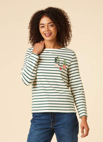 Alys Green Pot Plant Breton Stripe Top Model Front