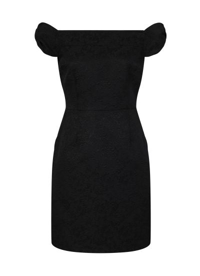 Anais Black Jaquard Bardot Dress Product Front