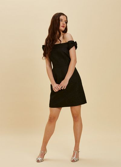 Anais Bardot Jacquard Mini Dress - Black