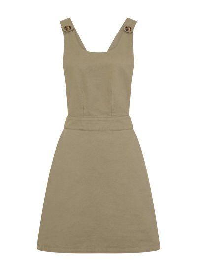 Apron Cotton Pinafore Dress Green Product front