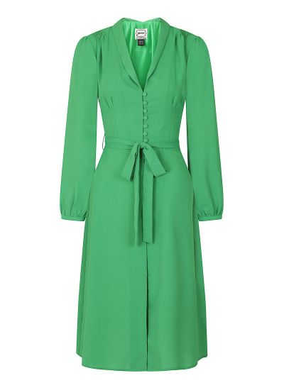 Babs Button-Through Green Midi Dress Product Front