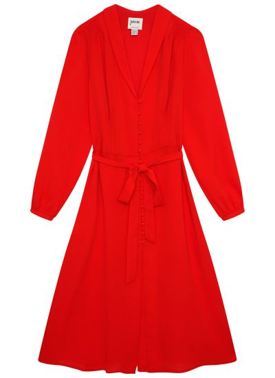 Babs Button-Through Red Midi Dress Product Front