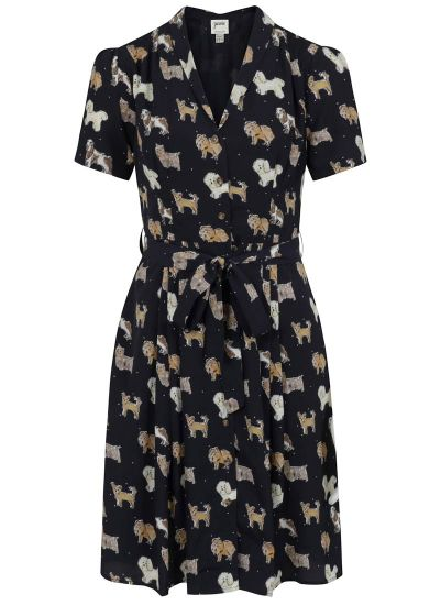 Barb Dog Print Tea Dress - Navy