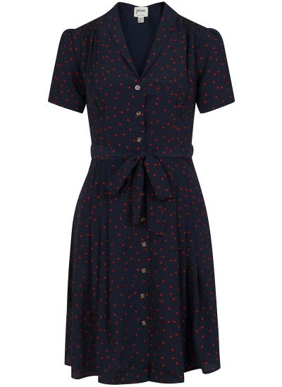 Barb Heart Print Tea Dress - Navy