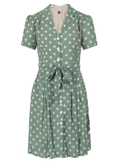 Barb Polka Dot Tea Dress - Sage Green